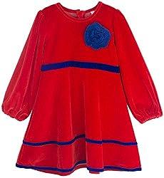 Oye Girls Long Sleeve Velour Dress - Red (1-2Y)