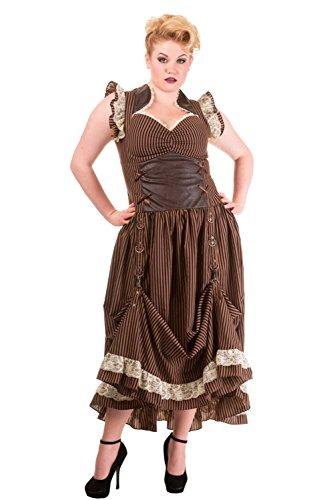 Banned Plus Long Brown Black Striped Steampunk Vintage Victorian Corset Dress