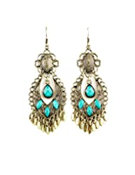 Fayon Contemporary Statement Antique Style Turquoise Gemstone Chandelier Earrings