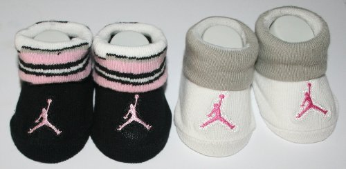 Nike Jumpman Air Jordan Pink Black White Gray 2 Pair Booties Socks, Size 0 - 6 Months