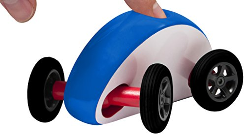 Finger Car Wonky Wheels, White with Blue Stripe