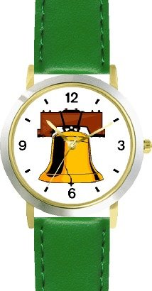 Liberty Bell American Theme - Watchbuddy® Deluxe Two-Tone Theme Watch - Arabic Numbers - Green Leather Strap-Women'S Size-Small
