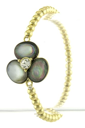 Trendy Fashion Jewelry Sea Shell Tone Mini Flower Bracelet By Fashion Destination   (Black/Pearl)