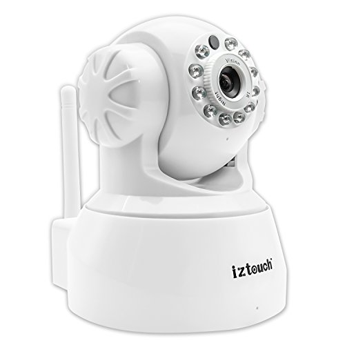 iZtouch IZSP-012 White 1280x720P HD H.264 Wireless/Wired IP Camera with Two-Way Audio Night Vision Pan/Tilt Control QR Code Scan Phone remote monitoring supported (Vision Remote Control compare prices)