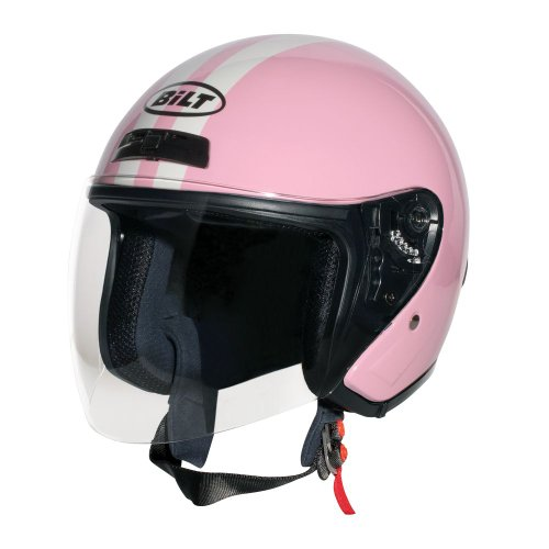 CUSTOM BILT Women's Roadster Retro Open-Face Motorcycle Helmet - MD, Pink/Cream (Pink Open Face Motorcycle Helmet compare prices)