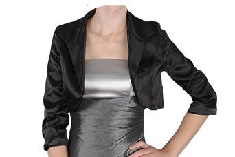 SATIN Bolero passen zu unseren Kleidern schwarz Kleid 36 38 40 42 44 46 48 50 52 54 Größe: 38-M