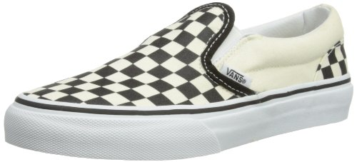 Vans Classic Slip-On Black/White Checker/White Canvas Trainer Veybbww 1 UK Junior