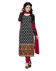 Yehii Women's Georgette Black Plain / Solid dress material Unstitched Salwar Kameez Dupatta for women party wear low price Below Sale Offer