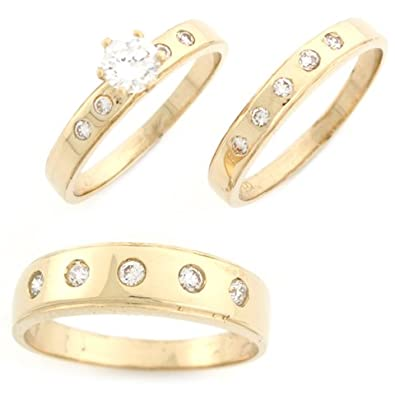 9ct Yellow Gold White CZ Trio Unique Designer Wedding Engagement Rings