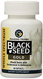 Amazing Herbs Black Seed Gold with Goldenseal and Echinacea Capsules, 60 Count