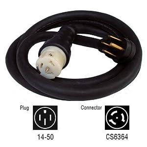 Generac 6330 10-Foot 50-Amp Generator Cord with NEMA 1450 Male and CS6364 Female Locking End