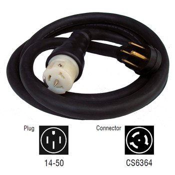 Generac 6389 25-Feet 50-Amp Generator Cord with NEMA 1450 Male End and CS6364 Female Locking End