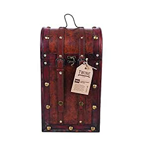 True Fabrications Treasure Chest Wood Wine Box 2 Bottle Wine Holder
