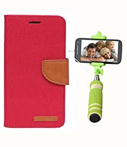Aart Fancy Wallet Dairy Jeans Flip Case Cover for LenovoA-6000 (Red) + Mini Fashionable Selfie Stick Compatible for all Mobiles Phones By Aart Store