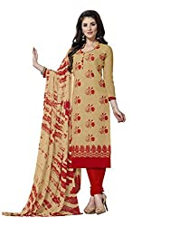 MS trends Women's Cotton Unstitched Dress Material(Aashiqui gold 61021_Beige_Free Size)