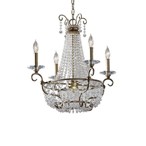Murray Feiss F2710/4 Dutchess 4 Light Chandelier With Beaded Accents, Burnished Silver