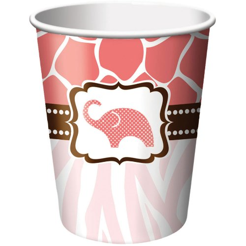 Creative Converting Baby Shower Wild Safari Pink 8 Count Paper Cups, 9-Ounce