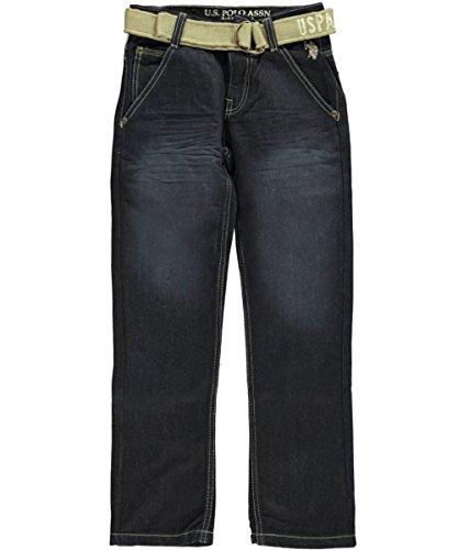 U.S. Polo Assn. Big Boys' 5 Pocket Denim Jeans With Belt, Blue Wash, 14