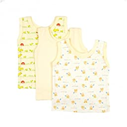 BIG OSHI Baby 3 Pack Sleeveless Undershirt Tank - PLK-804 - Yellow, 3-6 Months