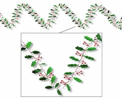 Christmas Gleam 'N Flex Holly & Berry Garland 25ft. Pkg/12 - 1