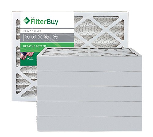 AFB Silver MERV 8 12x16x4 Pleated AC Furnace Air Filter. Pack of 6 Filters. 100% produced in the USA.