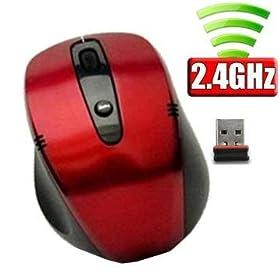 ユニーク ワイヤレス2.4G NANOレシーバーマウス PC連動電源 レッド M318GR