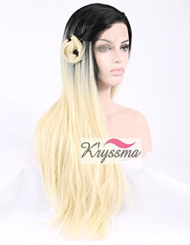 K'ryssma Realistic Wigs for Women Natural Straight Ombre Black to Blonde Long Synthetic Lace Front Wig Half Hand Tied Heat Friendly 22 inches for Black Friday
