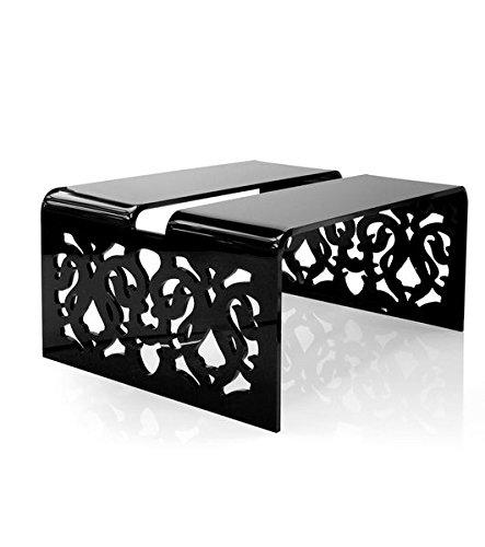 Table basse acrylique Grand soir dentelle noire ~ Acrila