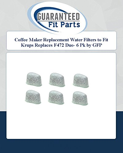 Coffee Maker Replacement Water Filters To Fit Krups Replaces F472 Duo- 6 Pk By Gfp