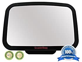 Back Seat Mirror by ScooterBugg - *Crash-Tested* - No Center Headrest Required - Extra Large Baby Rear Seat Mirror - Shatterproof & Cadmium Free - 360-degree Adjustable Mirror Rotates and Pivots for that Perfect Viewing Angle - Larger than other brands and provides full sight of Rear Facing Infant Car Seat - Crystal Clear Reflection - backed by a ScooterBuggu2122 **Lifetime Warranty**