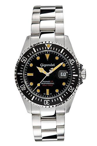 Gigandet Automatik Herren-Armbanduhr Sea Ground Vintage Taucheruhr Uhr Datum Analog Edelstahlarmband Schwarz Silber G2-007 9