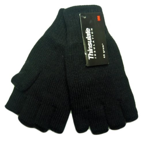 mens-womens-black-fingerless-thinsulate-lined-thermal-knitted-gloves