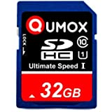 QUMOX 32Go SD HC 32 Go GB SDHC Class 10 UHS-I Secure Digital 32GB Carte mémoire HighSpeed Write Speed 40MB/s read speed upto 80MB/s