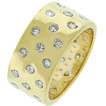 14k Gold Bonded Eternity Band Ring with Three Rows of Alternated Bezel Handset Cz in Goldtone Jewelry (5)