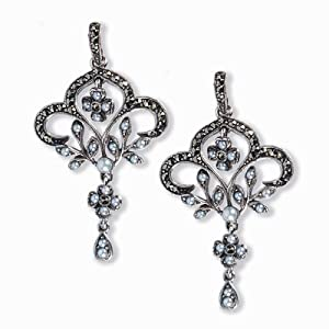Fleur-de-lis Silver Natural Seed Pearl Earrings