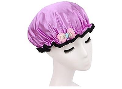 Shintop Children Resizable Waterproof Double Layer Shower Cap Girl Cute Environmental Bath Hat Solid with Bowknot Kawayi EVA Hat Satin Bonnets