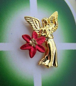 Womens Gold Plate Angel w Wings Holding Poinsettia Religious Christmas Lapel Pin