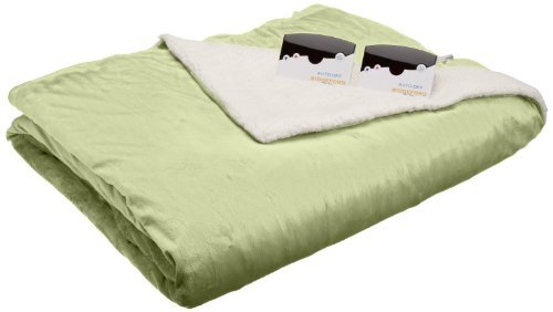 Biddeford 6000-9051136-635 62 By 84-Inch Heated Micro Mink/Sherpa Blanket, Twin, Sage 100% Polyester Machine Wash And Dry Digital Control(S) With Ten Heat Settings