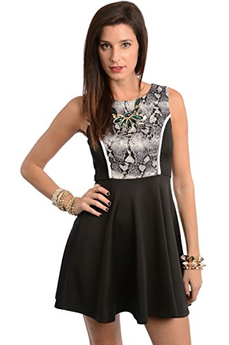 2Luv Women'S Contrast Print Top Skater Dress Black S (Zd50286)