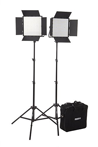 Studiopro Double 600 S-600Bn Bi Color Barndoor Led Photography Lighting Panel And Light Stand Kit, Continuous Bi Color Led With Case, Photo Studio Video Film Lighting Kit