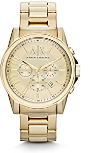 Armani Exchange AX2099 45mm Gold Steel Bracelet & Case Mineral Men's Watch