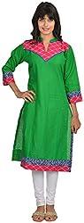 Goodyygoods Women's Cotton Regular Fit Kurti (GG 51, Green, X-Large)