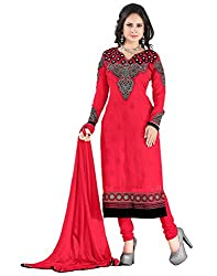 Lookslady Brand Women's Clothing Georgette Red Semi Stitched Salwar Kameez Dupatta Suit | Quality Checked | Genuine Product | Not a ready made dress