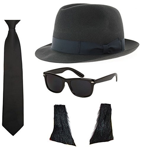 [Blues Brothers Hat Sunglasses Tie Sideburns Fancy Dress Costume by Blue Planet Online] (Blues Brothers Costume Hat)