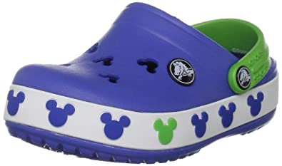 Crocs Crocband Mickey II Clog (Toddler/Little Kid),Sea Blue/Lime,10-11 M US Toddler