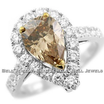 Fine 3.06ct Pear-Shape Champagne Diamond Engagement