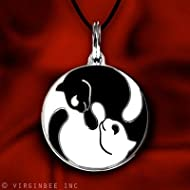 Yin Yang Twin Cats Charm Pendant Necklace