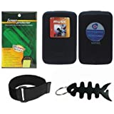 Black Soft Skin Case + Screen Protector + Armband + Smart Cord Wrap for SanDisk SDMX22 Sansa Clip Zip 4GB 8GB MP3 Player