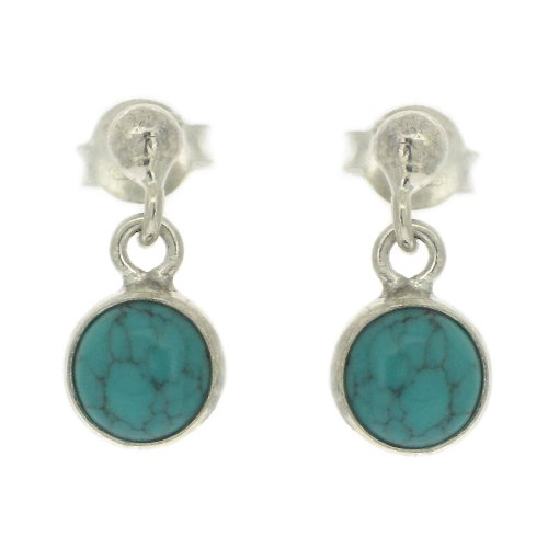 Nova Silver Small Stud Post Drop Earrings with Round Turquoise Stone