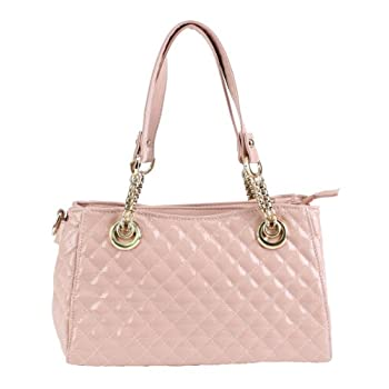 Scarleton quilted patent faux leather satchel H104905 - Pink. Please note: actual color may vary from picture due to computer settings.
